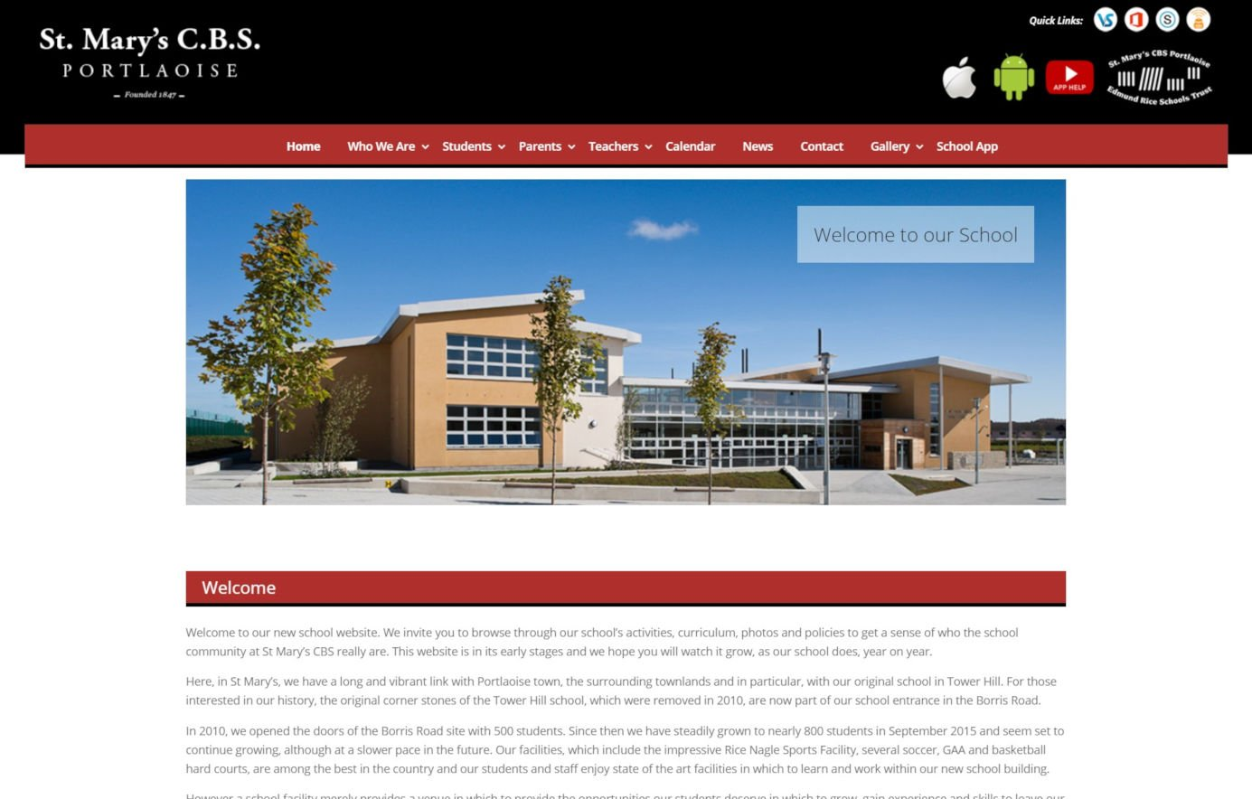 St. Mary's CBS, Portlaoise - School Website Design - Featured
