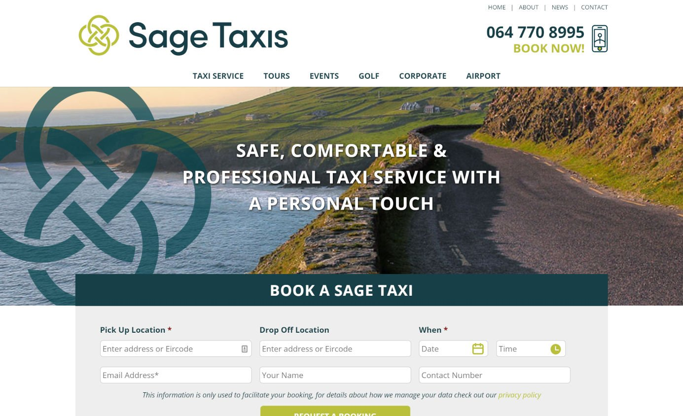 Sage Taxis - Taxi Website Design - Featured