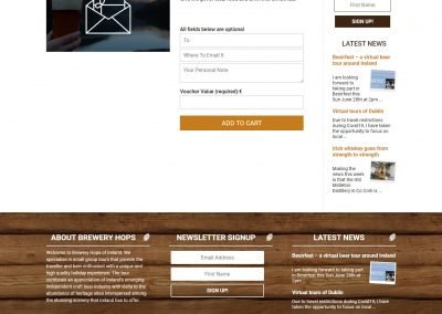 Brewery Hops Ireland Tour and Travel Reservation Website Gift Voucher Page