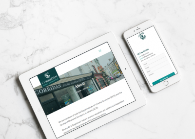 John Corridan Estate Agents and Chartered Surveyors Website Design Ipad and Iphone View
