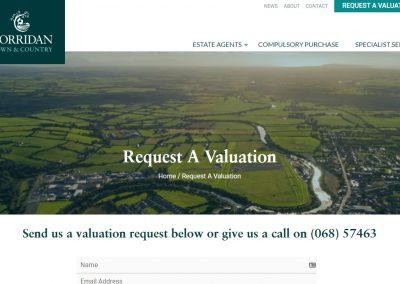 John Corridan Estate Agents and Chartered Surveyors Website Design Request A Valuation Page
