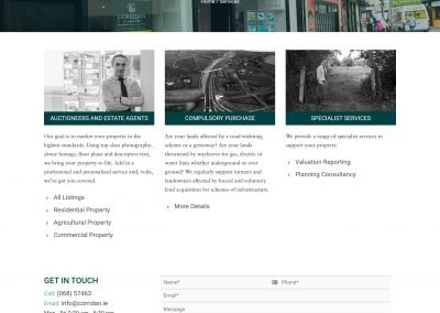 John Corridan Estate Agents and Chartered Surveyors Website Design Services Page