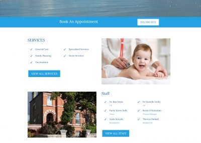 Bray Family Care Practice Wordpress Website Home Page View