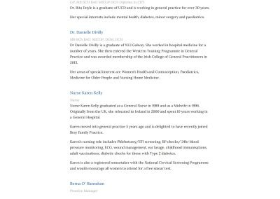 Bray Family Care Practice Wordpress Website Staff Page View