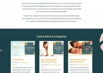 Latching On Breastfeeding Advice and Support Website Design Home Page