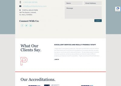 Purtil Solicitors Contact Page Design