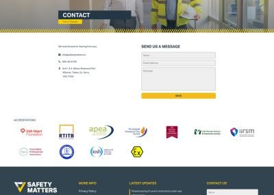 Safety Matters Contact Page Design